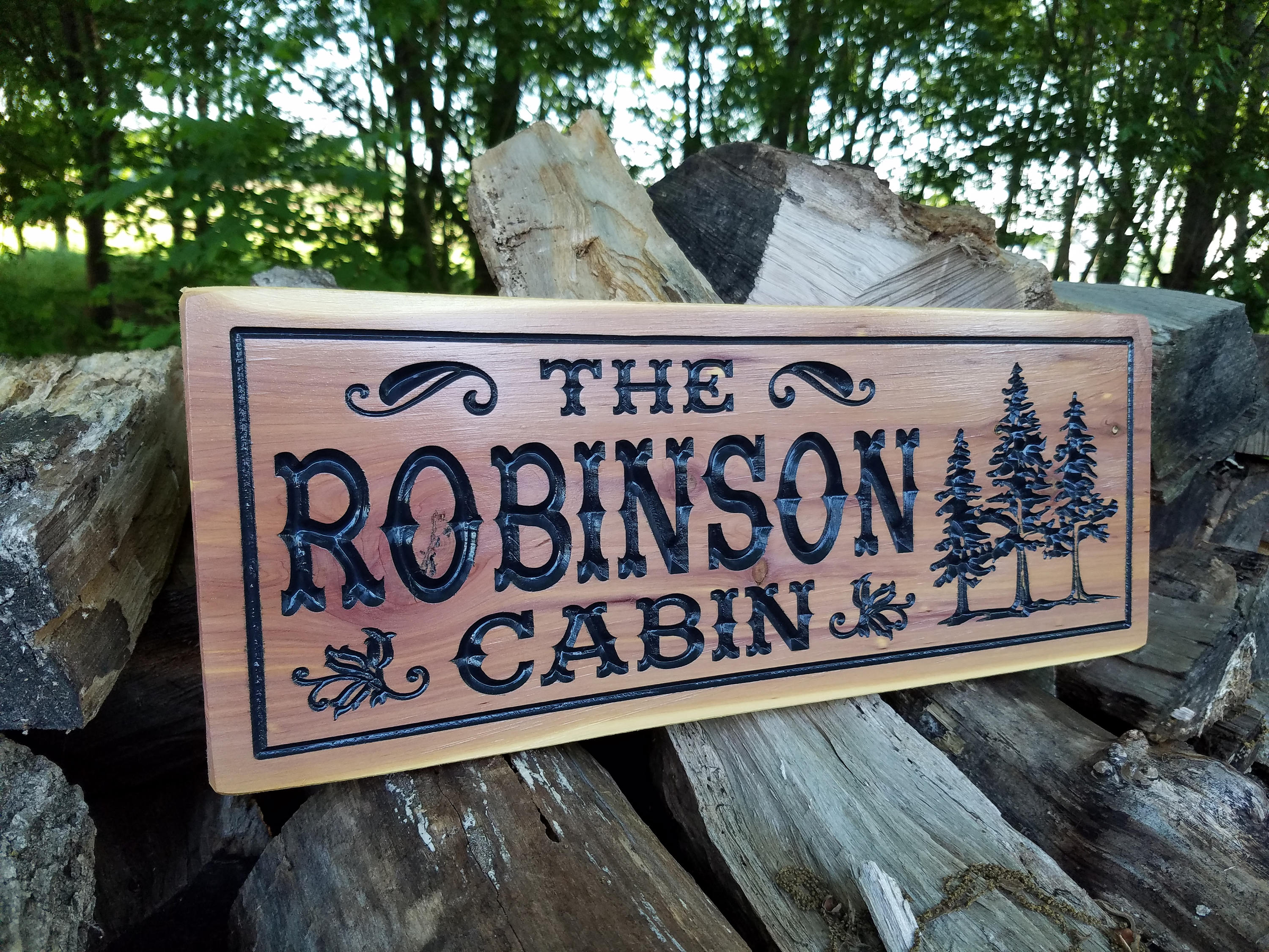 signs wooden outdoor cabin custom personalized sign etsy