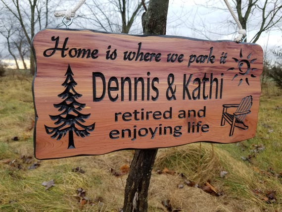 Campsite Sign First Names Personalized Carved Wooden Camping RV Sign Retirement Gift Sun Pine Tree Chair Image Camper Sign 19 x 9 Cedar 538