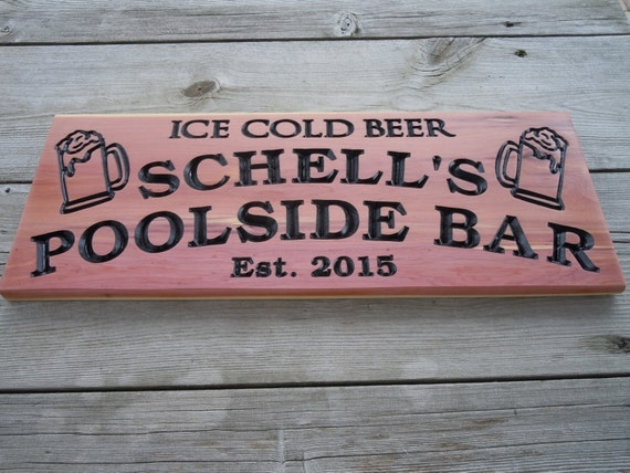 Poolside Bar Last Name Personalized Wooden Carved Sign Established Date Beer Mug Images Engraved Plaque Housewarming Gift Red Cedar 364
