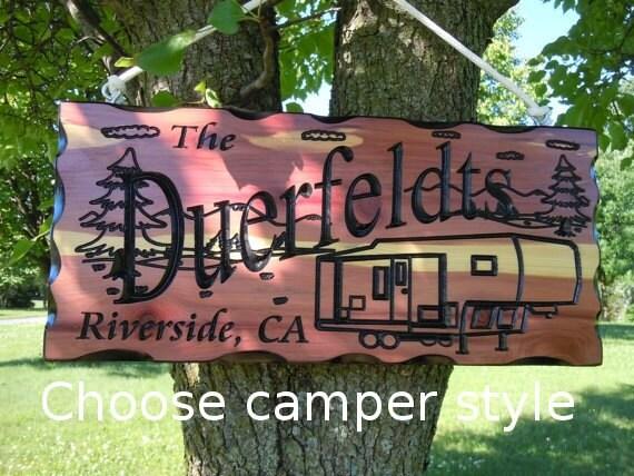 RV Decor RV Accessories Personalized Wooden Camper decor  Camper Sign Rv Sign Camping Camper Campsite Sign Camp Sign 19 x 9 Cedar 504