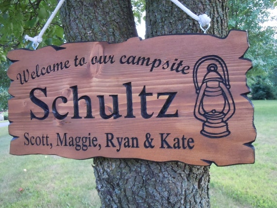 Last Name Family Campsite Sign Custom Made Wooden Welcome to Our Campsite Live Edge Wood Look Lantern Image Retirement Gift 19 x 9 Pine 516