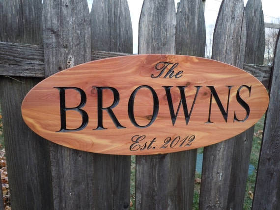 custom outdoor name signs, custom signs outdoor, outdoor name signs wood, Outdoor wood signs, Family Last Name Sign Red Cedar 316