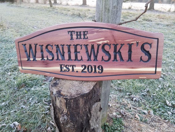 custom outdoor name signs custom wood cabin signs Personalized Carved Wooden wooden sign cabin signs Family Last Name Red Cedar 318