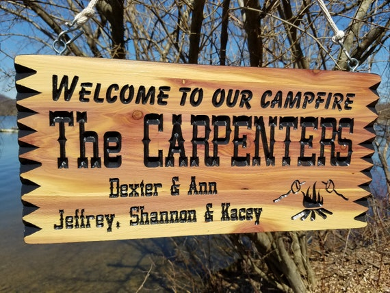 Personalized Camping Signs RV Signs Campfire Image Campsite Sign Custom RV Sign Wooden Camper Signs Camper Sign 19 x 9 Cedar 530