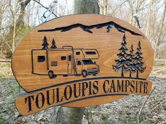 Camping Signs Camper Sign Campsite Sign Custom Wood Signs Personalized Camping Signs Camping Retirement Camper Wooden Signs 18 x 11 Pine 572