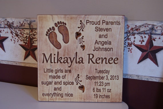 Baby Birth Information Plaque Personalized Wooden Baby Sign Length Weight Birth Date Parents Names Nursery Rhyme Baby Feet 11 x 11 Pine BS32