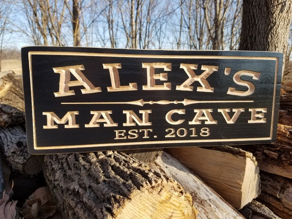 Man Cave Sign-Beer Sign-Groomsmen Gift-Father's Day Gift-Game Room Sign-Carved Wooden Signs-Garage Sign-Gift For Man-Pub Sign  Red Oak 635