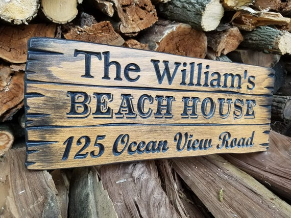 Outdoor Wooden Beach House Sign Personalized Wooden Last Name Sign Address Sign Custom Outdoor Name Sign beach bungalow sign Pine 381