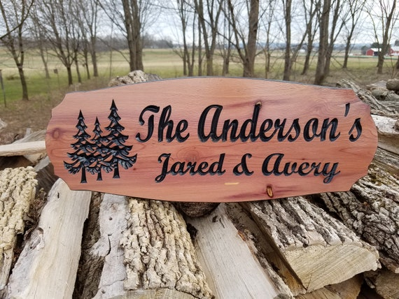 Outdoor Name Signs Personalized Wooden Address Sign Last Name Sign Wedding custom Wood Signs Cabin Signs Wooden Signs Plaque Cedar 327