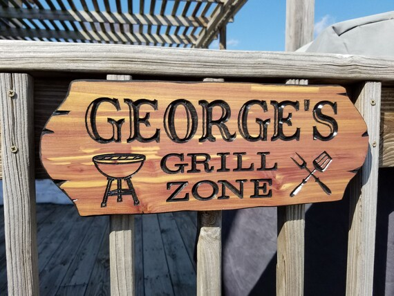 Grill Lovers Sign Personalized Bar-b-Que Sign patio rules sign Backyard patio sign mens decor custom house signs man cave decor Cedar 718