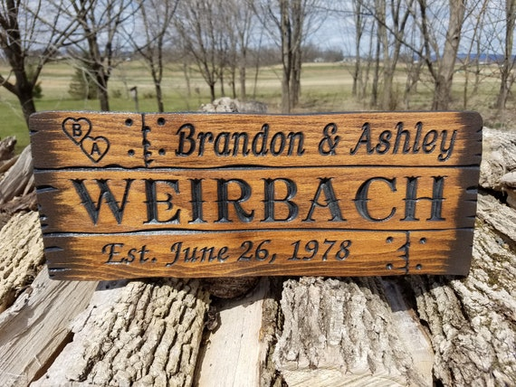 Rustic Custom Wood Signs Barn Wood Style Rustic Personalized Carved Wedding Gift Anniversary Housewarming farmhouse decor Sign Pine 128