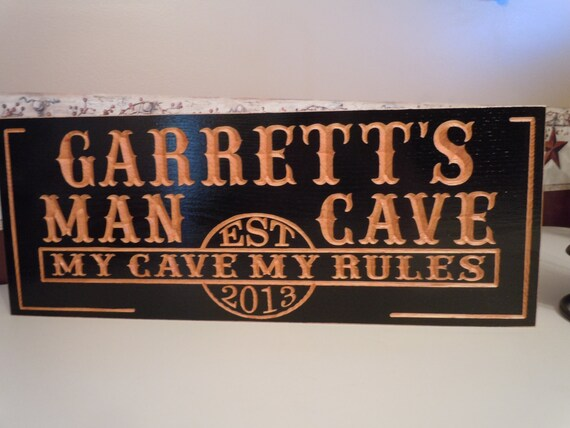 Man Cave Personalized Wooden Carved Established Date Grooms Groomsmen Gift Game Room Signs My Cave My Rules Custom Wood Signs Red Oak 641