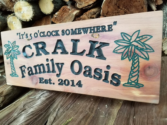 Family Oasis Swimming Pool Last Name Personalized Custom Wood Signs Wooden Signs Pool Signs Custom Outdoor House Signs Red Cedar 365