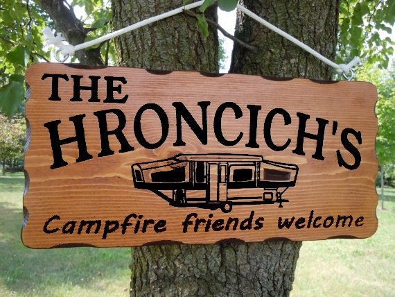 Camping Signs Camper Sign Campsite Sign Custom Wood Signs Personalized rv decor trailer decor camper flag happy camper 19 x 9 Pine 505