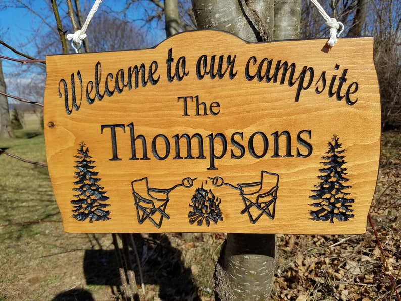 Campsite Sign First Names Personalized Plaque Sign Wooden Camping RV Sign Retirement Gift Sun Pine Tree Chair Image Camper Sign 19 x 9