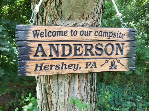 Family Camp Sign Personalized Last Name Wooden Welcome to our Campsite Barnwood Engraved Plaque Campfire Image Retirement Gift Pine 581