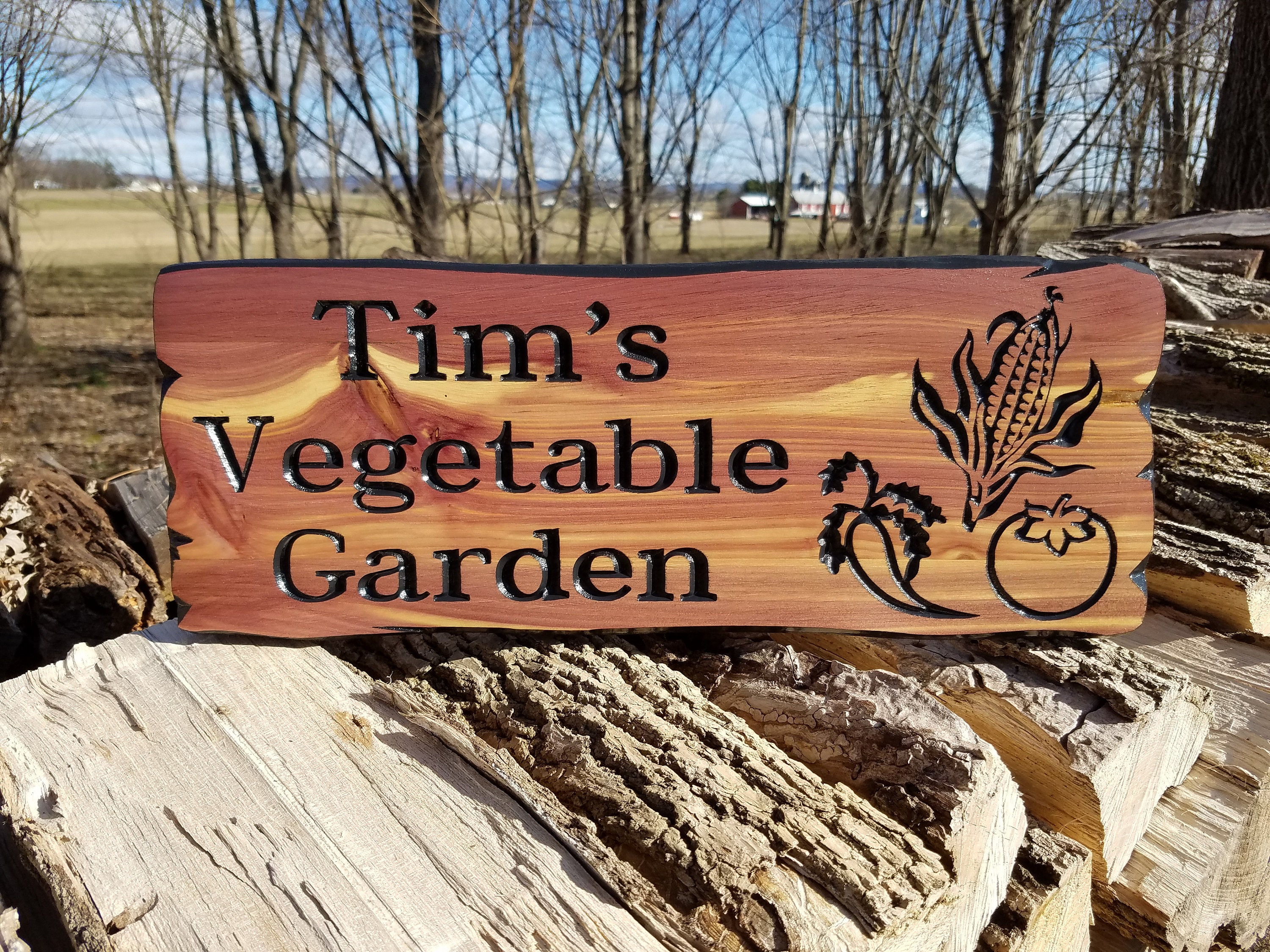 Custom Outdoor House Sign Vegetable Images Personalized Garden Sign ...