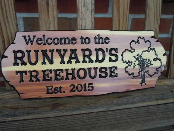 Treehouse Signs-custom outdoor sign-family name sign-garden sign-Playhouse-Personalized Family Name-tree sign-wood sign-Cedar 311