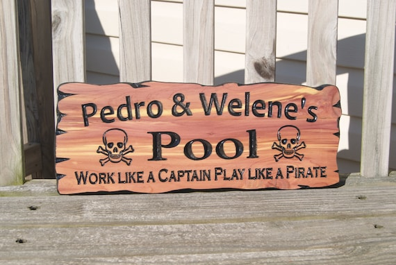 Personalized Backyard Swimming Pool Sign Wooden Carved Sign Name Pirate Phrase Engraved Plaque Family Housewarming Gift Red Cedar 377