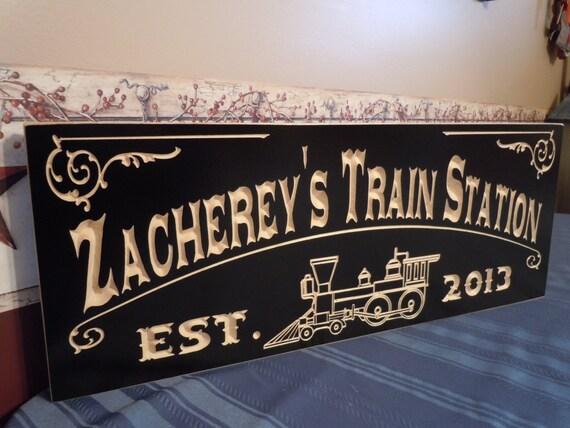 Family Electric Train Station Sign Railroad Memorabilia Locomotive Lionel Train Model Train Steam Engine Train Train Decor Hardwood 701