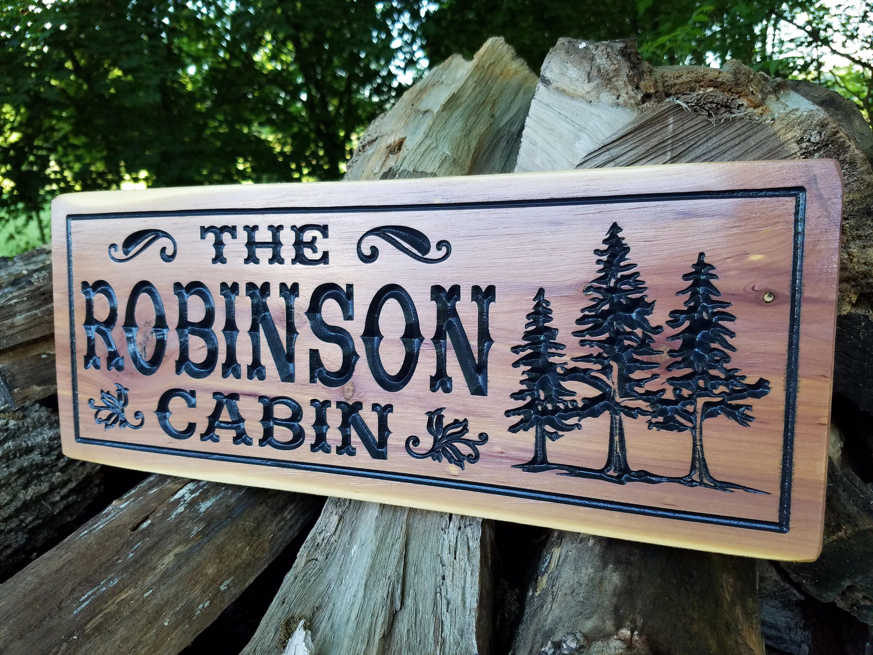 wooden signs outdoor custom cabin personalized sign etsy cedar wood