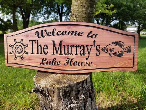 Outdoor Beach House Sign - Personalized Wooden Carved Welcome Sign house sign outdoor Vacation Home  personalized beach signs Cedar 362