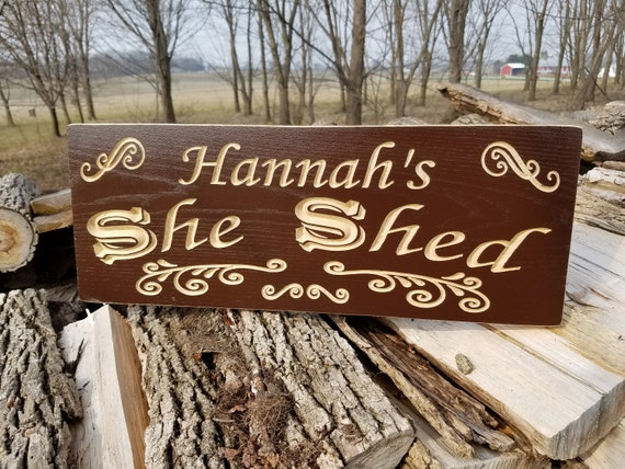 She Shed Mom Cave Sign Personalized Wooden Carved Custom Wooden Signs Engraved Mother's Day Brides Birthday Housewarming Gift Hardwood 645