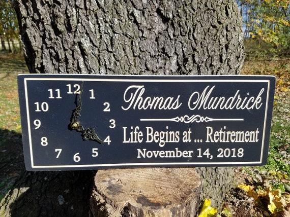 Retirement Gift Personalized Custom Carved Wooden retirement sign retirement clock Retirement Phrase Engraved Plaque 18 x 7 Oak C15