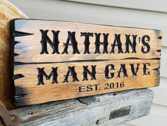 Man Cave Barn Wood Style Rustic Personalized Carved Decor Den Office Home Bar Garage Father's Day Gift Custom Wood Signs Gift Pine 653