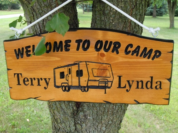 Camp Welcome Sign Camper Image Personalized Wooden First Names Campsite Plaque Engraved Vacation Sign Retirement Gift 19 x 9 Pine 512