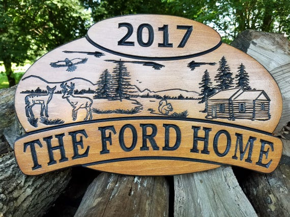 "Custom Outdoor House Signs Wooden Signs ""Personalized"" Camp Sign ""Custom Wood Signs"" Cabin Wooden Signs Established Date 18 x 11 Pine 395"