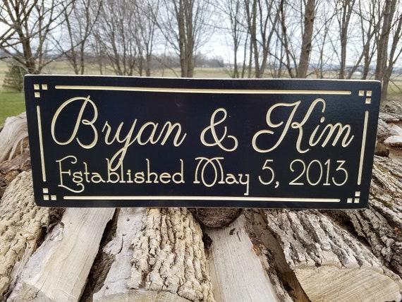 Engraved Wood Signs - Wedding Gift - established sign - wooden name sign - family name sign - Engraved Wooded Signs Hardwood 16