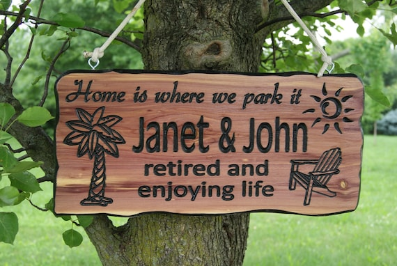 First Names Campsite Sign Personalized Carved Wooden Camping RV Sign Gift Sun Palm Tree Chair Image Camper Sign Gift 19 x 9 Cedar 521