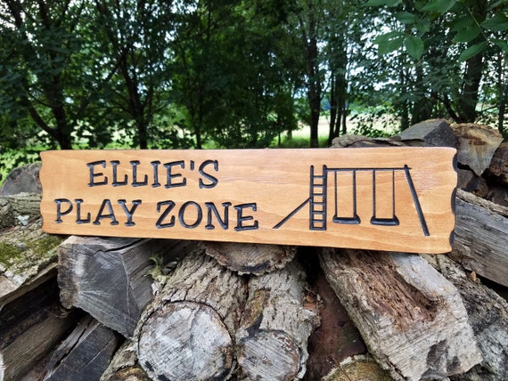 Play Zone Personalized Wooden Carved Swing Set Slide Image Backyard Sign Kids Playground Engraved Plaque Housewarming Gift 23 x 5 Pine 212
