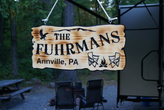 Camping Sign RV Decor Accessories Personalized Carved Wooden Sign Camper Sign RV Sign Camping Camper Campsite Sign Camp Sign 19 x 9 Pine 556