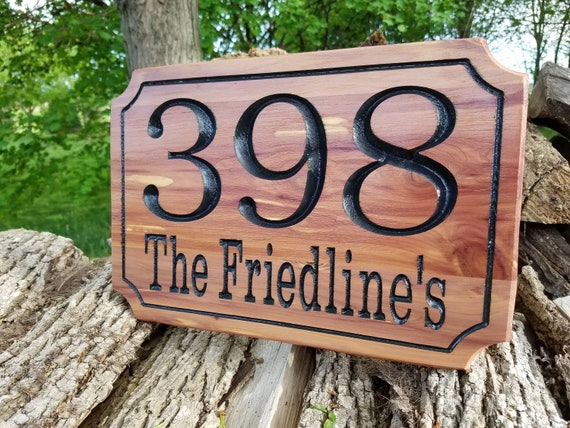 House Number Street Address Personalized Carved Wooden Dorm Office Engraved Plaque Custom Driveway Sign Housewarming Gift Red Cedar ST4