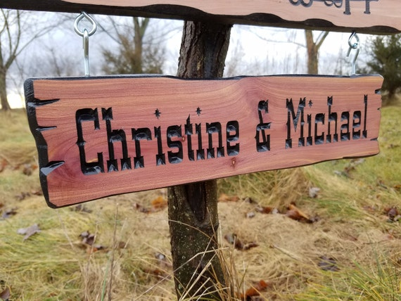 First Names Add-On Camper Sign Hanging Personalized Wooden Carved Rustic Outdoor Engraved Plaque Two Name Plate 15 x 4 Cedar 525