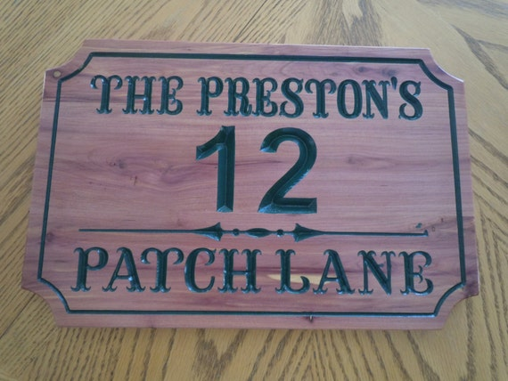 House Number Personalized Carved Wooden Last Name Street Address Plaque Custom Engraved Sign Housewarming Gift 13 1/2 x 9 Red Cedar ST5