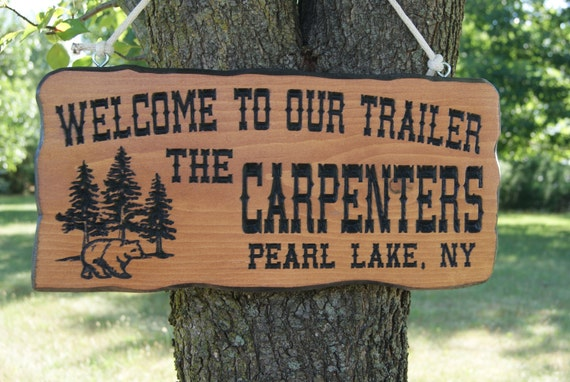 Family Camper Sign Last Name Personalized Wooden Welcome to our Trailer Engraved Plaque Bear Tree Image Retirement Gift 19 x 9 Pine 528