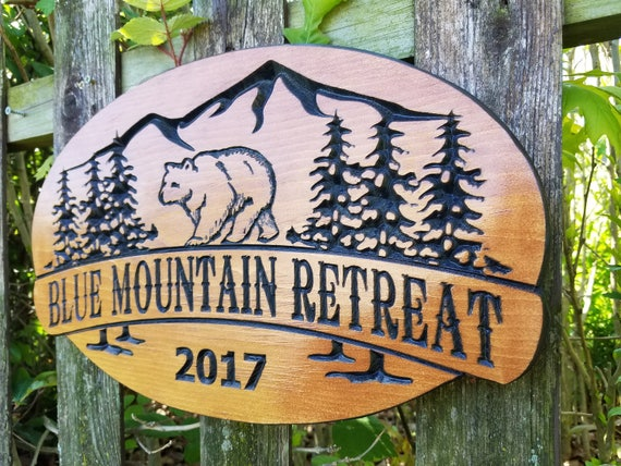 Cabin Retreat Sign Wooden Signs Personalized Camping Sign Custom Wood Signs Custom Wooden House Signs Custom Outdoor Name 18 x 11 Pine 333