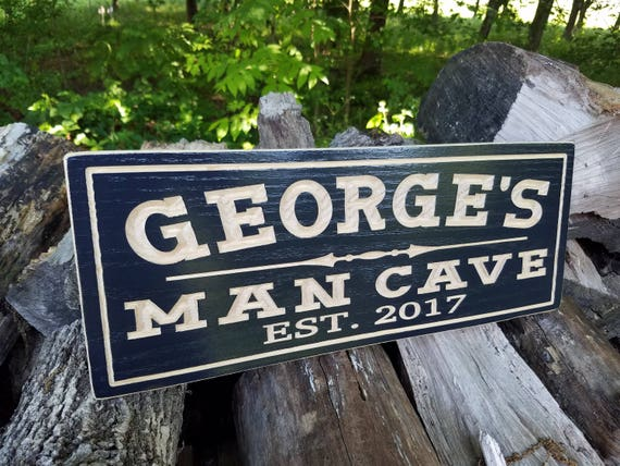 Man Cave Sign-Personalized Wooden Sign-Father's Day Gift-Game Room Sign-Custom Wood Signs-Garage Sign-Bar Sign-Pub Sign Red Oak 635