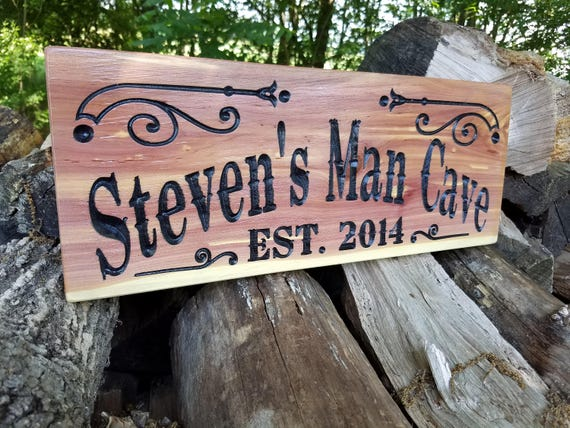 Man Cave Signs Personalized Custom Wooden Saloon Sign Game Room Signs Fathers Day Birthday Gift Workshop Signs Engraved Plaque Cedar 630