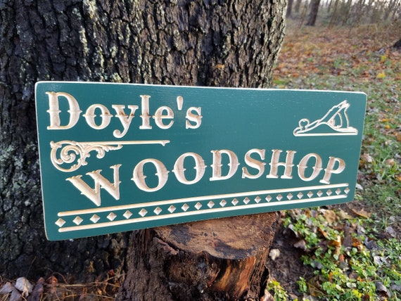 Personalized Workshop Sign Custom Wooden Sign Wooden Signs Wood Plane Image Custom Wooden Signs Father's Day Gift engraved sign Oak 774