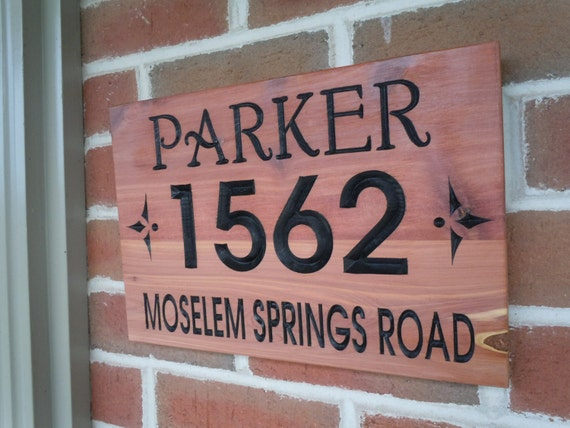Address Sign Personalized Wooden Signs Custom Wood Signs House Number Street Cabin Sign Cabin Decor Custom Wood Signs Outdoor Red Cedar ST8
