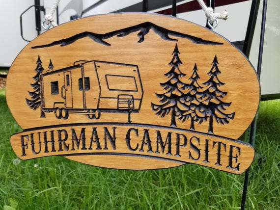Camper decor Camping decor Rv decor accessories gift Happy camper Wood camping sign Trailer decor Camper flag custom sign 18 x 11 Pine 572