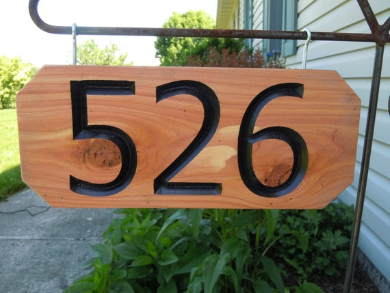 House Number Driveway Engraved Plaque Last Name Personalized Carved Wooden Custom Made Sign New Home Housewarming Gift 12 x 5 Cedar ST36