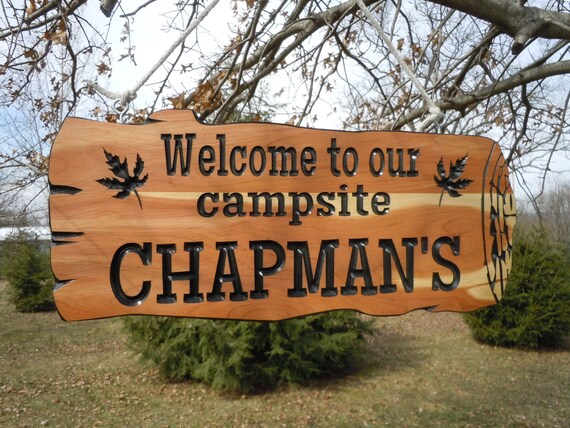 Camping Signs camper sign Live Edge Wood Look Custom Wood signs Personalized Carved Rustic Log Campers Camping 19 x 9 Red Cedar 502