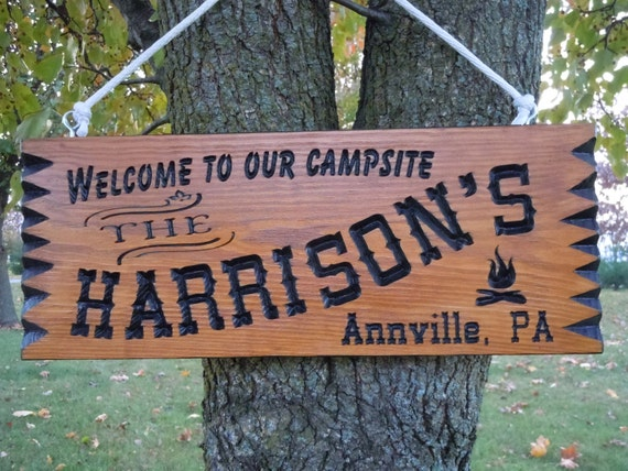 Family Camp Sign Custom Made Last Name Wooden Welcome to our Campsite Engraved Plaque Campfire Image Retirement Gift 19 x 9 Pine 514