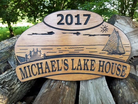 Lake House Name Sign Personalized Custom Carved Sailboat Dock Lake Sun Image Vacation Home Wooden Plaque Established Date 18 x 11 Pine 397