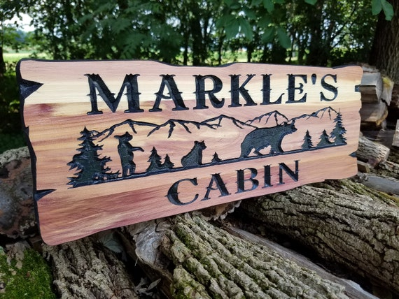 Cabin Signs Personalized Wooden Signs Family Cabin Sign Lake Home Outdoor Name Sign Custom Wood Signs Mountain Tree Bear Images Cedar 399